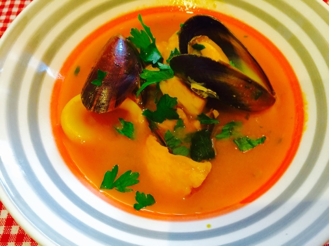 Bouillabaisse, a French fish, mussel and prawn soup