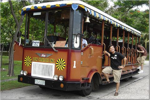 PauTravels on board a tram in Corregidor Island