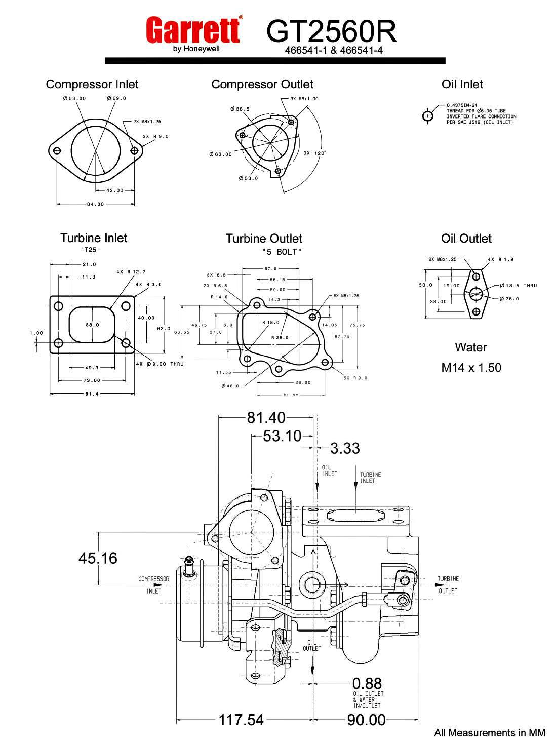 garrett gt25r - gt2560r - 60 trim