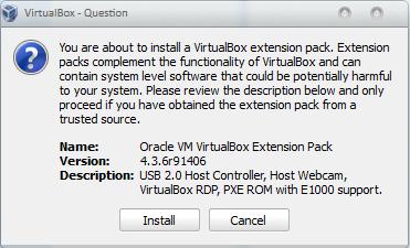 Pesan konfirmasi instalasi ekstensions pack