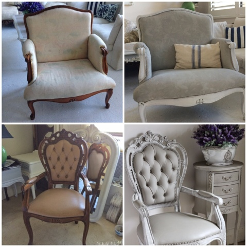 The top chair is a fabric armchair my friend Belinda loved the shape and comfort of but she didnu0027t like the timber (too orange) and while the fabric was in ... & Lilyfield Life: Painting chairs with Chalk Paint