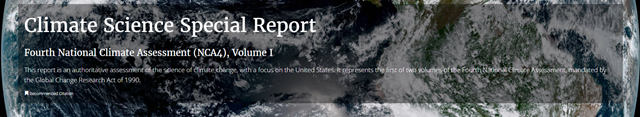 Masthead for the website of the Climate Science Special Report, Fourth National Climate Assessment (NCA4), Volume I. Graphic: USGCRP