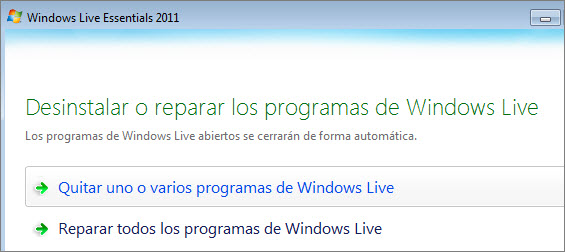 eliminar windows live messenger