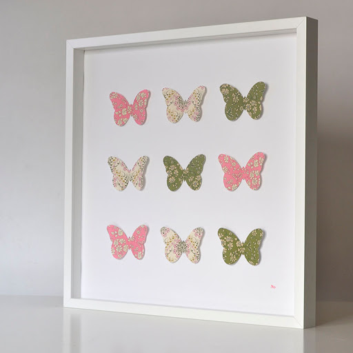 Grand cadre papillons Vert et rose Mille Coquelicots