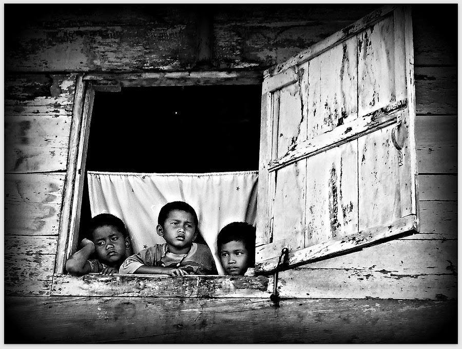 Waitin For Dad by Daniel Pasaribu - Babies & Children Children Candids ( child, window, waiting, bw, face, people, pwc faces )