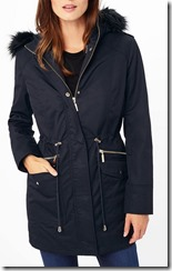 Phase Eight navy parka with black fur hood