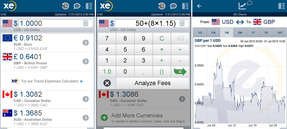 Apps de viagem xe currency