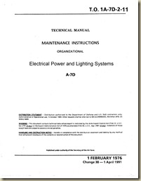 LTV A-7D Electrical Power and Lighting Systems