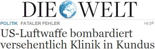 US-Luftwaffe bombardiert versehentlich Klinik in Kundus