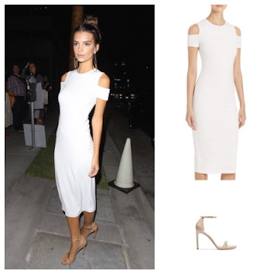 Emily Ratajkowski in White Alice + Olivia Cut Out Shoulder Dress