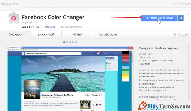cài dặt Facebook Color Changer, chương trình đổi giao diện facebook