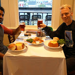 serge & matt having lobster bisque at Eagle Cafe in San Francisco in San Francisco, California, United States
