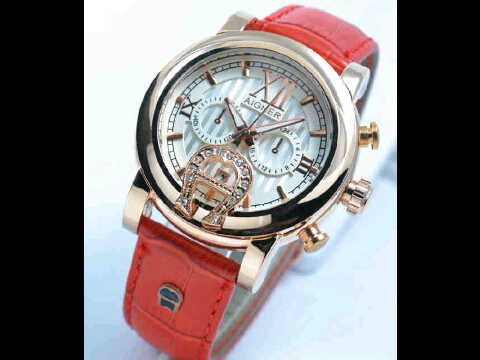 Jual jam tangan Aigner romawi ring polos Red