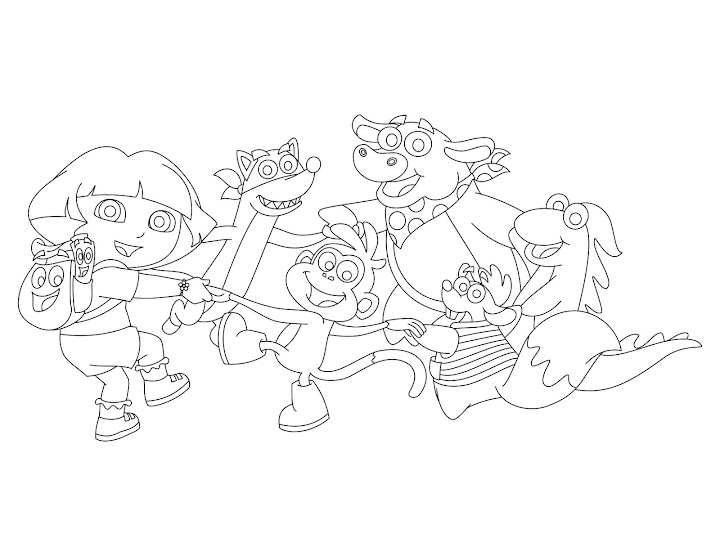 Dora the Explorer and Friends in Circle Coloring Page