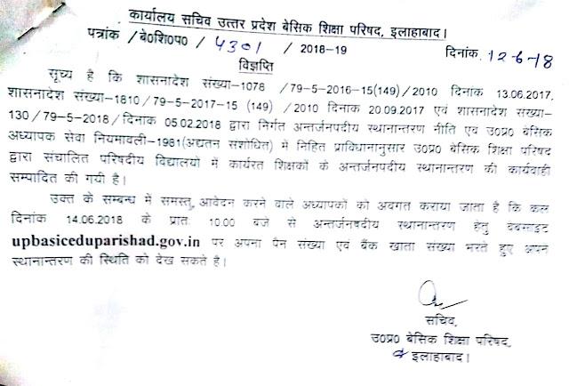 परिषदीय शिक्षकों के अंतर्जनपदीय स्थानांतरण के संबंध में सचिव उत्तर प्रदेश बेसिक शिक्षा परिषद में जारी किया आदेश