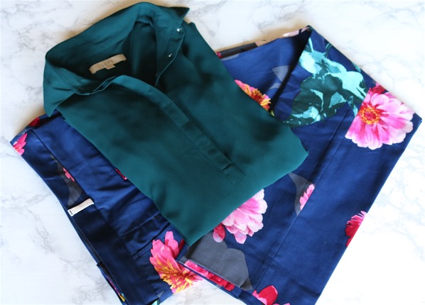 Floral Pants and Dark Green Shirt