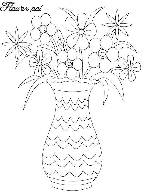 Flower Pot Coloring Page With Flower Pot Coloring Page