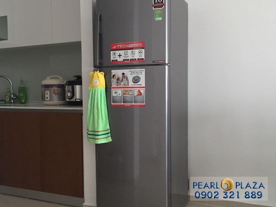 tủ lạnh tại phòng bếp căn 2 phòng ngủ pearl plaza
