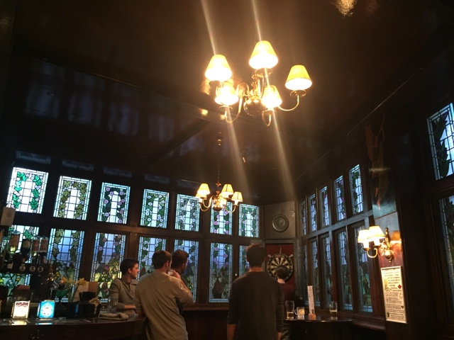The interior of Angel in the Fields Pub on Marylebone High St is beautiful, with stained glass windows