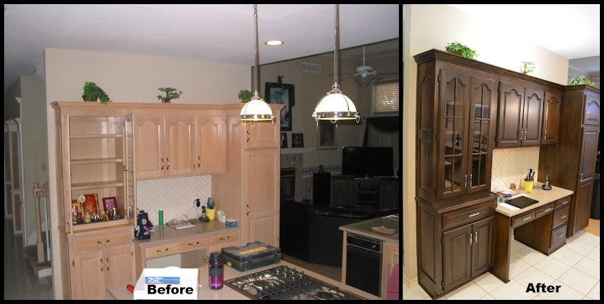 Before and after of kitchen cabinet refinish