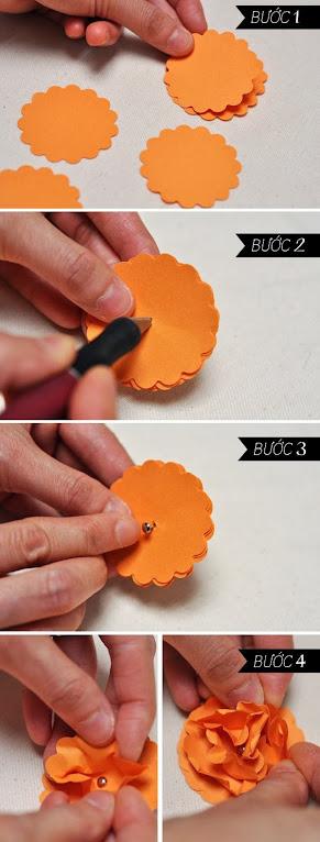 hoa+giay+3 Cách làm hoa trang trí đơn giản từ giấy