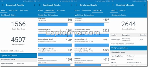 Benchmark Geekbench 4 Xiaomi Redmi Note 4