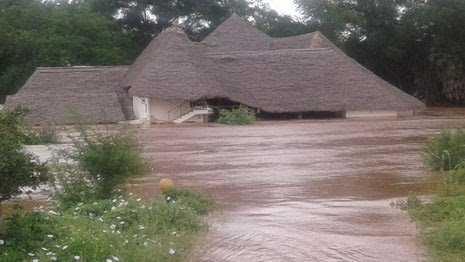 Tsavo safari lodge lodged in river galana raging waters in tsavo
