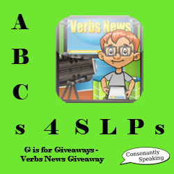 ABCs 4 SLPs: G is for Giveaways - Verbs News Application Giveaway image