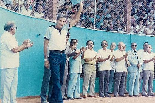 Felipe Montemayor en la inauguración del campeonato nacional menor de 1986
