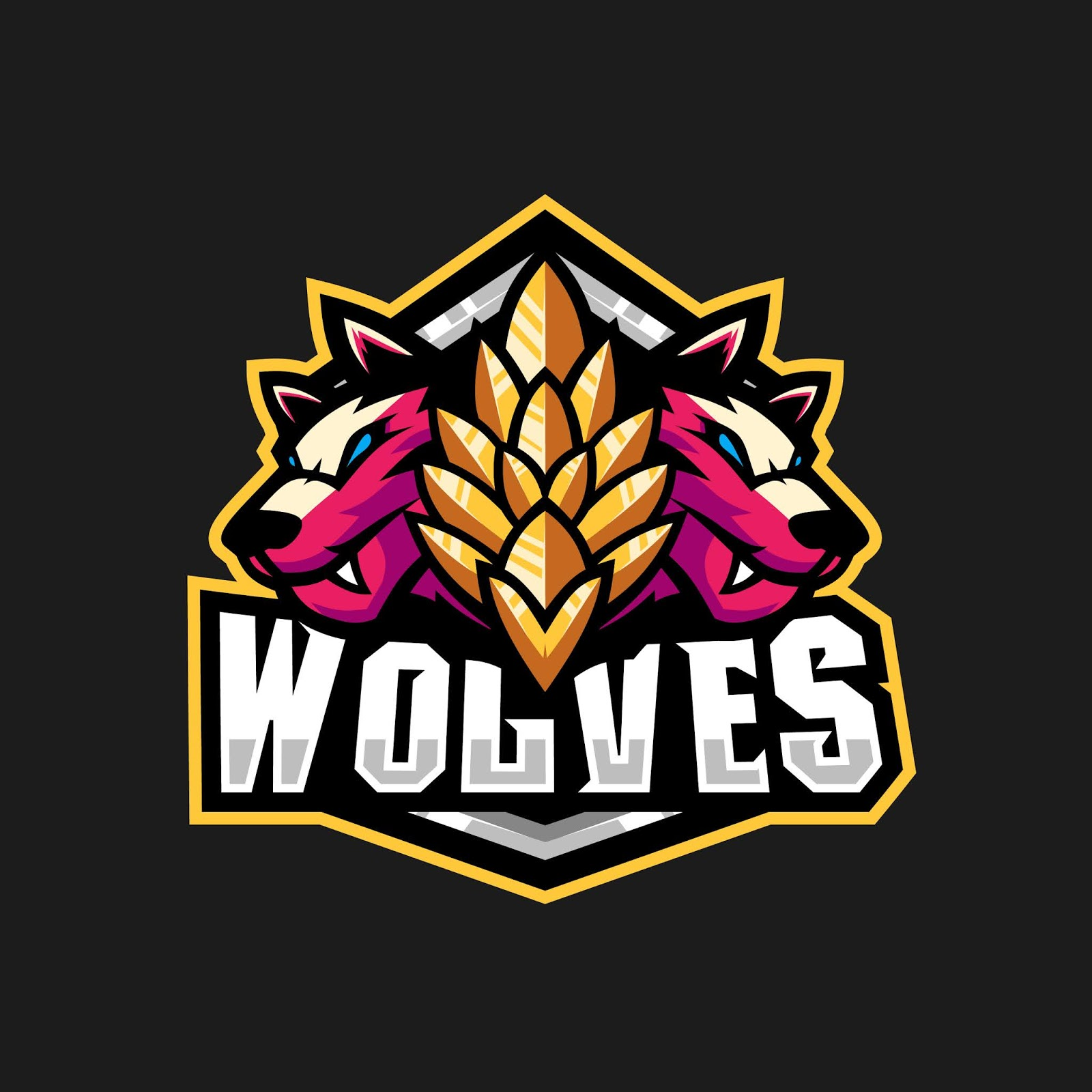 Two Wolves Illustration Gaming Squad Logo Free Download Vector CDR, AI, EPS and PNG Formats