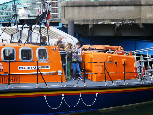 Volunteer Graham John with pupils from St Michael's CE Primary School onboard the ALB - May 2013