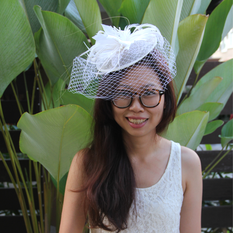 Feather/Net Bridal hat fascinator (clip on) by Style Me Pretty