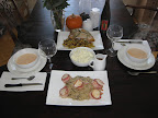 Crab bisque, bacon wrapped scallops with risotto, mashed potatoes and gravy
