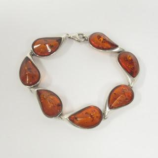 Sterling Sliver and Amber Modernist Bracelet