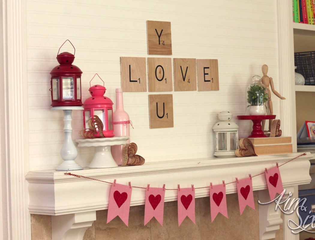 Valentine Mantel with burlap garland