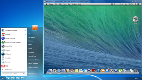 Mavericks OS X didalam Windows 7