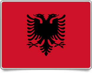 Albanian framed flag icons with box shadow