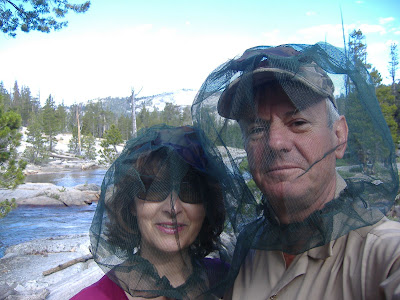 Yep--it was a buggy trip~! Here we are modelling the latest in designer headwear on the North Fork of the Kings River. But the flowers were stunning, the place was amazing...and thanks to the bugs, we saw a total of 14 people in five days.©http://backpackthesierra.com