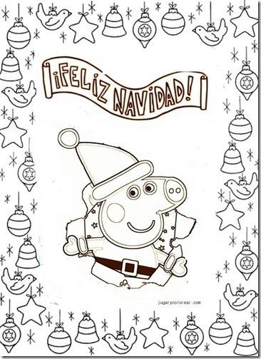 láminas de dibujo para colorear  Peppa Pig día de Navidad