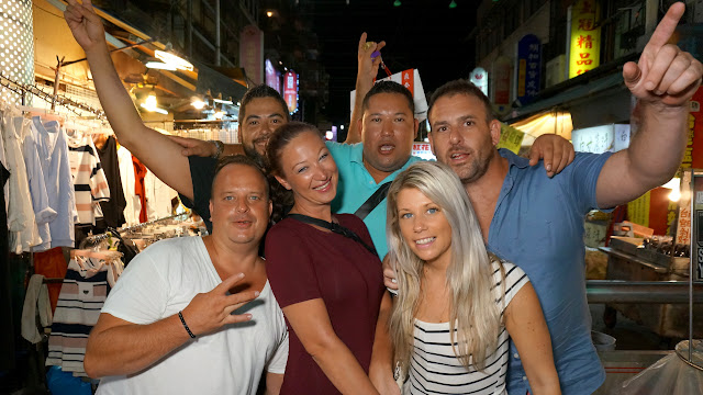 visiting the Tonghua night market with friends from the USA & Canada in Taipei, T'ai-pei county, Taiwan