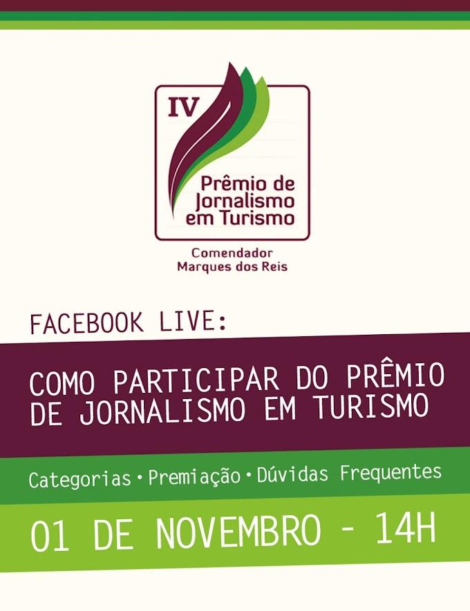 As inscrições para o IV Prêmio de Jornalismo em Turismo Comendador Marques dos Reis seguem abertas até o dia 6 de novembro.