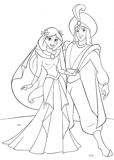 Jasmine Coloring Pages With Aladdin  Coloringstar