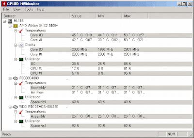 交換後CPU使用率40%でCPU温度45℃