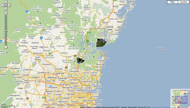 Localisation des photos autour de Sydney