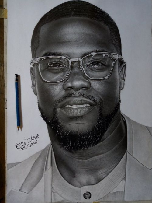 WOW!!! Kevin Hart Patronizes Nigerian Pencil Artist Who Drew Him (See Drawing)