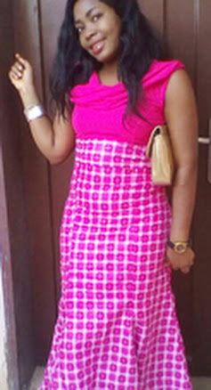 girl, pink long ankara gown