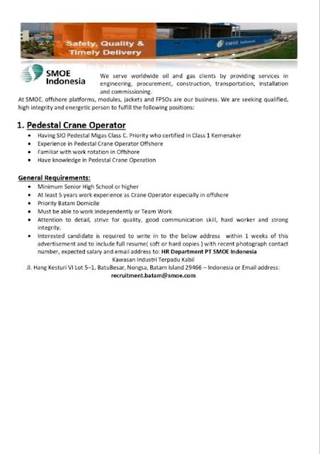 Lowongan Kerja PT Smoe Indonesia-Pedestal Crane Operator