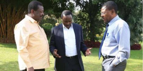 Musalia Mudavadi, Moses Wetangula and Kalonzo Musyoka on a previous meeting. PHOTO | BMS