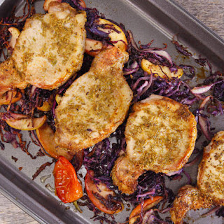 Clodagh McKenna's Fennel-Crusted Pork Chops on Roasted Apples and Spiced Red Cabbage.