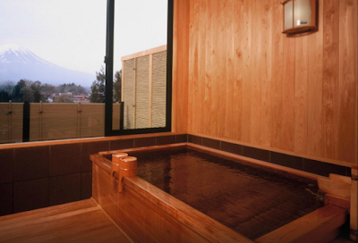 The private onsen that we rented for an hour at Wakakusa no Yado Maruei- we didn't know it had a Mt Fuji view because we went after dinner and it was dark, official photo from the ryokan